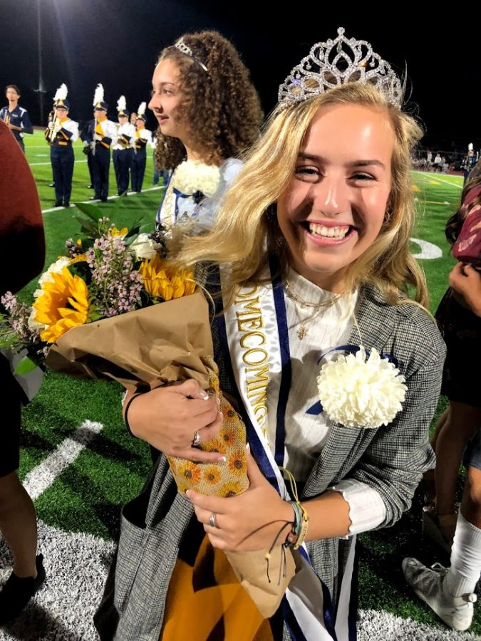 Swain smiles after winning the 2019 Homecoming queen crown.